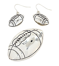 Football Pendant and Earrings Set #AC1000T-AS