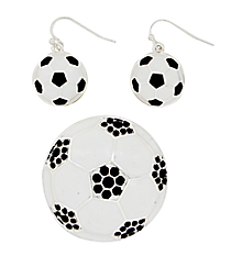 Soccer Pendant and Earring Set #AC1140-SWJ