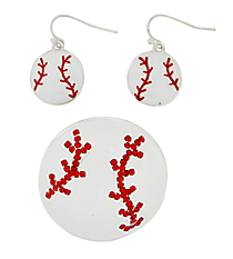Baseball Pendant and Earring Set #AC1141-SWR