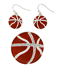 Basketball Pendant and Earring Set #AC1142-SBC