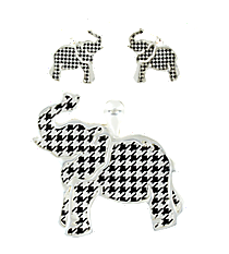 Silvertone and Houndstooth Elephant Pendant and Earring Set #AC1206-SJW