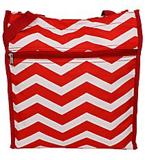 Red and White Chevron Shopper Tote #TH3013-165-R/W