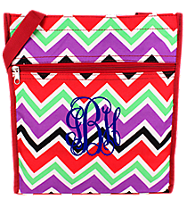 Red and Purple Chevron Shopper Tote with Red Trim #TH3013-170