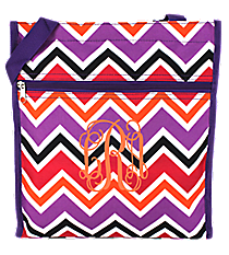 Purple and Fuchsia Chevron Shopper Tote with Purple Trim #TH3013-172