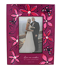 John 13:34 Floral Print Wooden 4x6 Photo Frame #WPF006