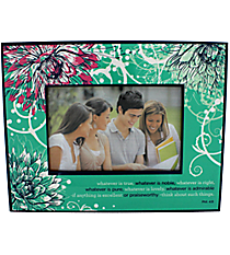 Philippians 4:8 Floral Print Wooden 6x4 Photo Frame #WPF007