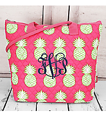 Pineapple Of My Eye Quilted Shoulder Bag with Pink Trim #PIL1515-PINK