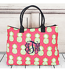 Pineapple Of My Eye Quilted Large Shoulder Tote with Navy Trim #PIL3907-NAVY
