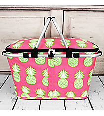 Pineapple Of My Eye Collapsible Insulated Market Basket with Lid #PIL658-NAVY