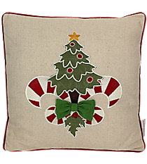 Christmas Tree and Candy Cane Fleur de Lis Pillow #34879