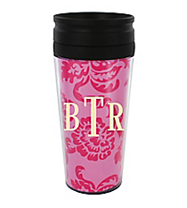 Pink Vintage Floral 14 oz. Travel Tumbler with Black Lid #WLCM338PP-CL-U