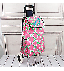 Pink and Green Moroccan Rolling Shopper Tote with Navy #20003OTM-NAVY
