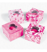 12 Pink Ribbon Cupcake Boxes #3/3173