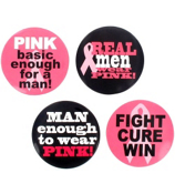 1 Dozen Men's Pink Ribbon Buttons #24/2328