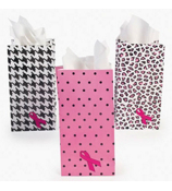 One Dozen Pink Ribbon Treat Bags #3/3178