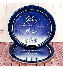Pack of 8 'Glory To The Newborn King' Large Paper Plates #PLP005