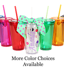 Sideways Name 16 oz. Double Wall Tumbler with Straw #WA334004 *Choose Your Colors