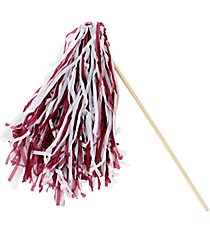 24 Maroon and White Spirit Pom Poms #13607194