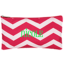 "Fuchsia and White Chevron 10"" Pouch #909-165-F/W"