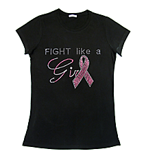 "Dazzling ""Fight Like a Girl"" Ladies Short Sleeve Fitted T-Shirt 5.75""x 8"" Design PR02 *Personalize Your Colors"