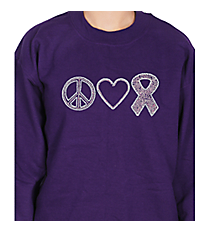 "Dazzling ""Peace, Love, and Hope"" Heavy-weight Crew Sweatshirt 4.25"" x 9.25"" Design PR03 *Choose Your Shirt Color"