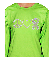 "Dazzling ""Peace, Love, and Hope"" Long Sleeve Relaxed Fit T-Shirt 4.25"" x 9.25"" Design PR03 *Choose Your Shirt Color"