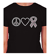 "Dazzling ""Peace, Love, and Hope"" Ladies Short Sleeve Fitted T-Shirt 4.25"" x 9.25"" Design PR03 *Choose Your Shirt Color"