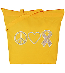 "Dazzling ""Peace, Love, and Hope"" Large Zipper Tote #8802 4.25"" x 9.25"" Design PR03 *Choose Your Tote Color"
