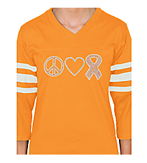 "Dazzling ""Peace, Love, and Hope"" Ladies Football Tee 4.25"" x 9.25"" Design PR03 *Choose Your Shirt Color"