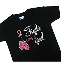 "Glitzy ""Fight Hard, Fight Like a Girl"" Youth Short Sleeve Relaxed Fit T-Shirt 9.25"" x 8.75"" Design PR05 *Choose Your Shirt Color"