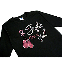 "Dazzling ""Fight Hard, Fight Like a Girl"" Youth Long Sleeve Relaxed T-Shirt 9.25"" x 8.75"" Design PR05 *Choose Your Shirt Color"