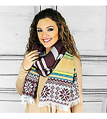 Dashing Through the Snow Blanket Scarf, Burgundy #PSH-5045-02