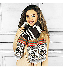 Dashing Through the Snow Blanket Scarf, Brown #PSH-5045-03