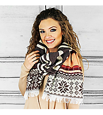 Dashing Through the Snow Scarf, Brown #PSH-5060-03