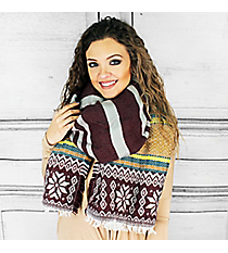 Dashing Through the Snow Scarf, Burgundy #PSH-5060-05