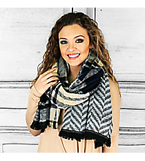 Mountain Skies Blanket Scarf, Navy #PSY-5033-02