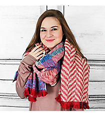 Mountain Skies Blanket Scarf, Red #PSY-5033-03