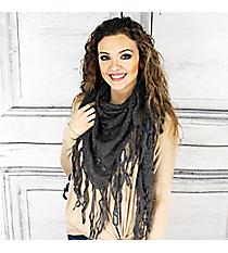 Winter Chill Crochet Triangle Shawl, Charcoal #PSY-5079-02