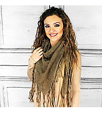 Winter Chill Crochet Triangle Shawl, Taupe #PSY-5079-03