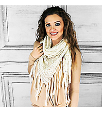 Winter Chill Crochet Triangle Shawl, Ivory #PSY-5079-04