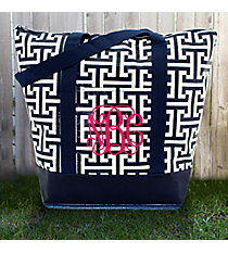 Navy and White Puzzled Tag-a-Long Tote #PU-TG-000718