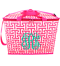 Pink and White Puzzled Big Chill Tote #PU-BC-000322
