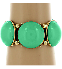 Light Turquoise and Goldtone Bubble Stretch Bracelet #QB3687-GDLTQ