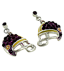 Purple and Yellow Football Helmet Earrings #QE1318-PURP/YEL