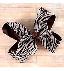 One Girl's Large Solid Brown and Sheer Zebra Hair Clippy #QHC1536BR