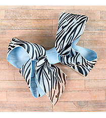 One Girl's Large Solid Sky Blue and Sheer Zebra Hair Clippy #QHC1536SB