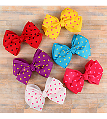 One Polka Dot and Solid Double Bow Hair Clippy #QHC3013A-SHIPS ASSORTED