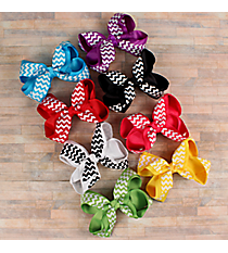 One Solid and Chevron Double Bow Hair Clippy #QHC3086R-SHIPS ASSORTED
