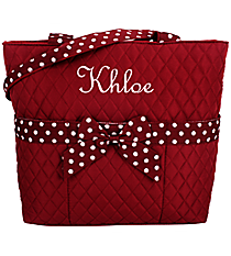 Burgundy and White Quilted Diaper Bag #TW2121-BUR/WH