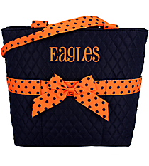 Navy and Orange Quilted Diaper Bag #TW2121-NAV/OR